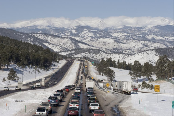 A traffic backup on westbound Interstate 70 heading into the Rocky Mountains. - MILEHIGHTRAVELER VIA GETTY IMAGES