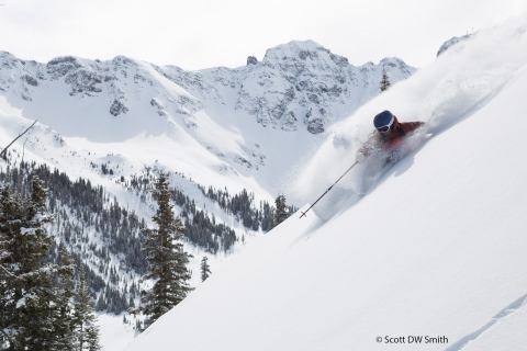 Photo of Ty Peterson skiing at Silverton Mountain.