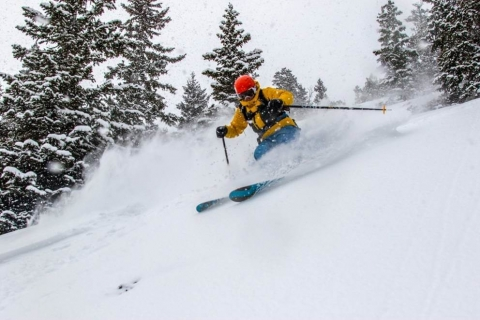Skier on powder at Loveland Ski Area.