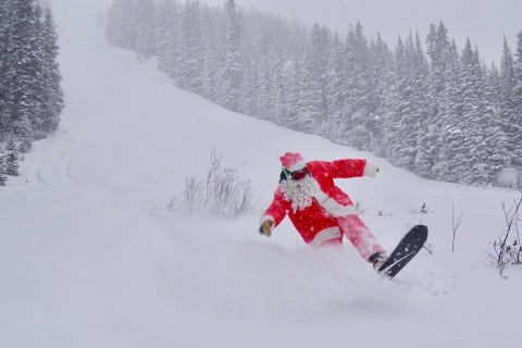 Skiing Santa at Loveland Ski Area.