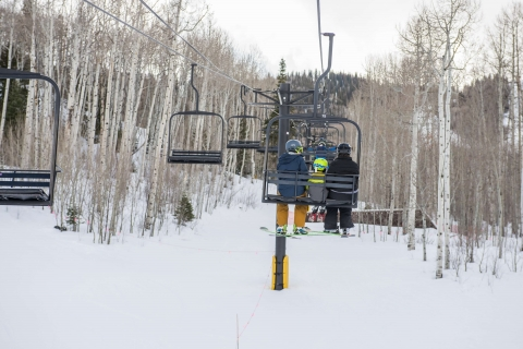 Riding the lift at Sunlight