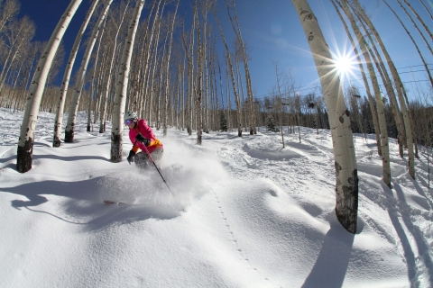 Tree skiing at Powderhorn.
