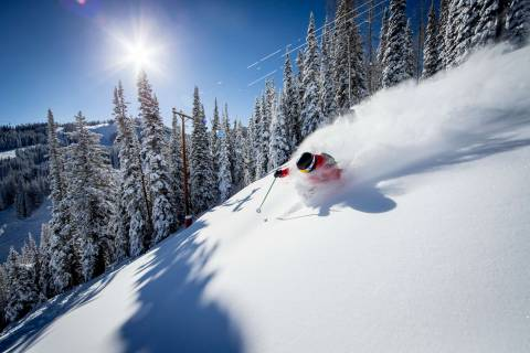 Powder skier at Aspen Mountain.