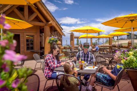 Family dining at Winter Park Resort.