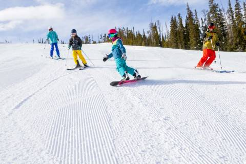Family skiing at Winter Park Resort.