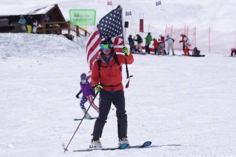 A military skier at Loveland ski area.
