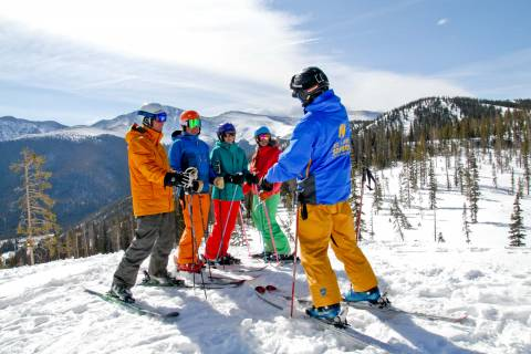 An adult beginner's lesson at Winter Park.