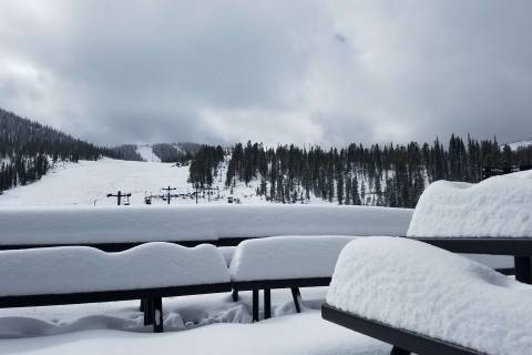 Snow-covered tables at Monarch.