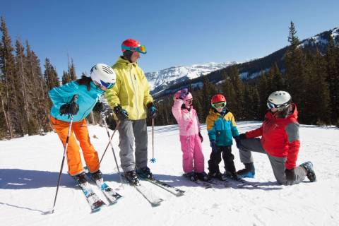 A family ski lesson at Telluride.