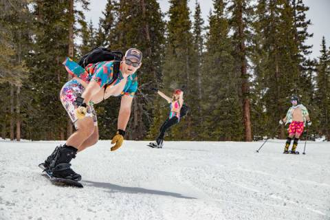 Spring Swimwear Skiing at Arapahoe Basin Ski Area