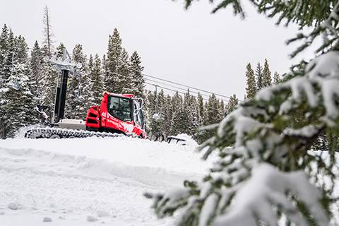 Snowcats move snow in preparation for Opening Day - Carl Frey