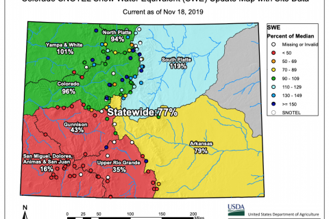 Colorado Snowpack Below Normal