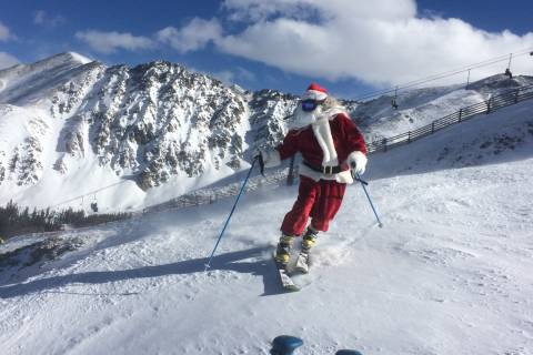 Santa Skis at Arapahoe Basin